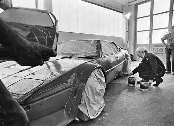 Andy Warhol in process of painting BMW M1