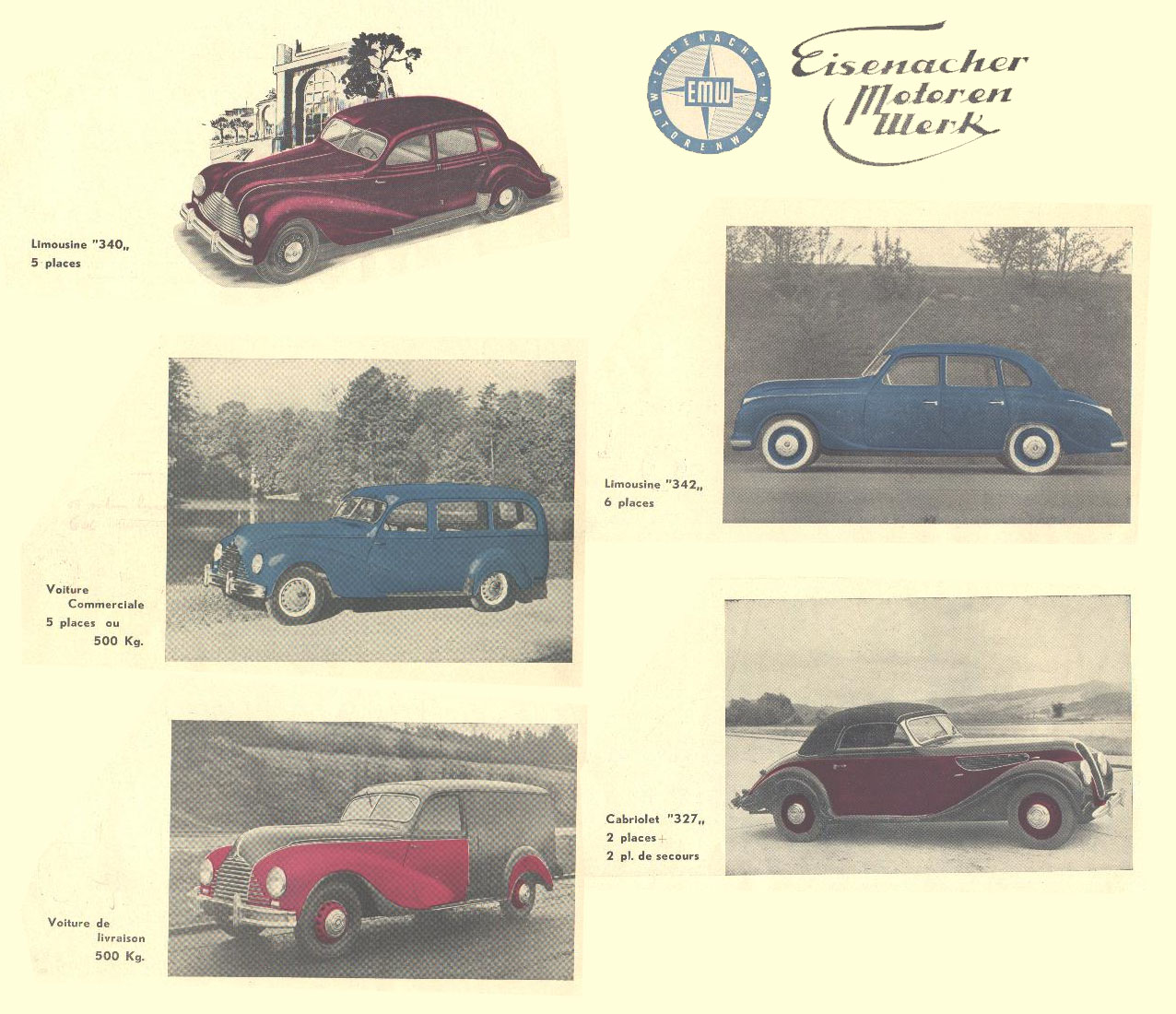 Models produced at EMW plant in 1950
