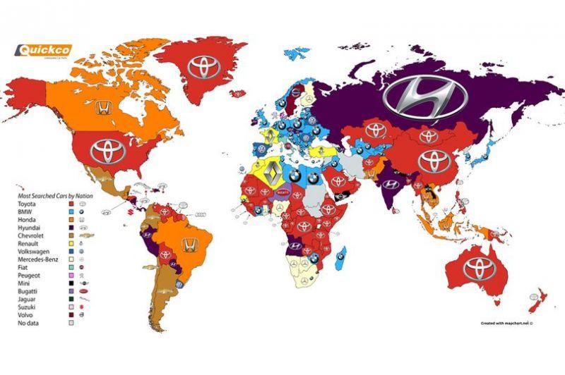 Какие марки больше всего ищут в google по странам?!