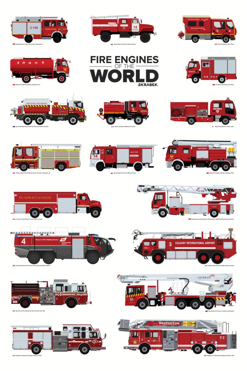 Плакат с пожарными автомобилями со всего мира от иллюстратора Тайлера Скрайбека (Tyler Skrabek)