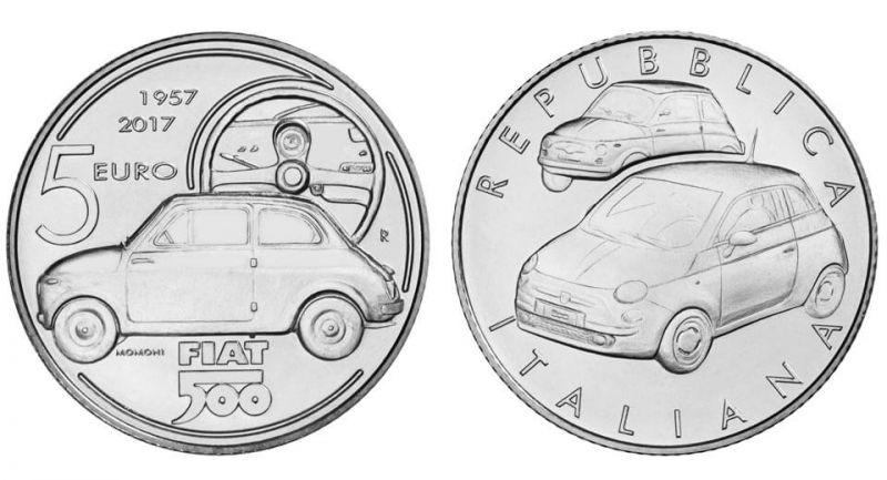 К 60-летию Fiat 500 выпущена монета достоинством в 5 евро